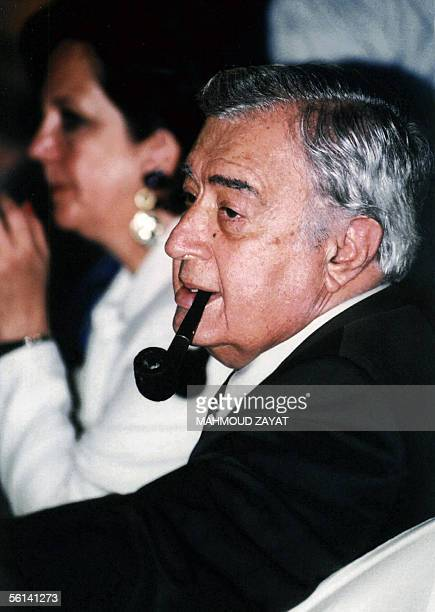 An undated file picture shows Syrian film producer and director Mustafa alAkkad at an official reception in the Lebanese capital Beirut Akkad who...