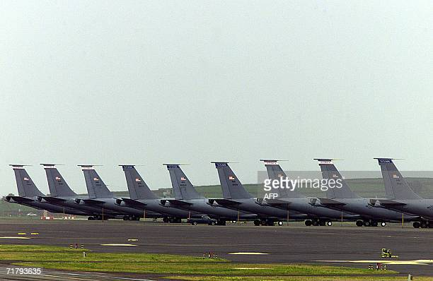 An undated file picture taken in March 2003 shows a US Air Force planes at the Base das Lajes a US military base in the Portuguese archipelago of...
