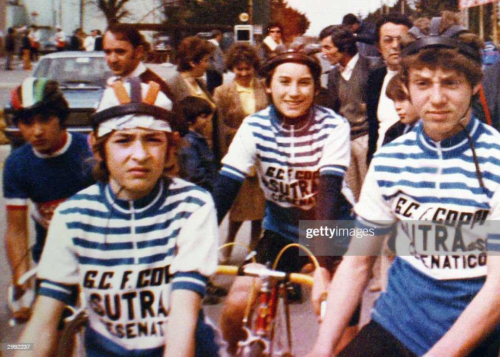 An undated filer shows a young Marco Pantani (L), who was to become one of Italy's top international cycling champions, before a cycling race in the Cesenatico area, near Rimini. Pantani was found dead 14 February 2004 in a residence-hotel in the resort city of Rimini.
