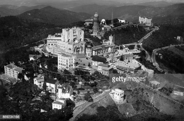 An undated general view shows the Sagrat Cor church on top of the Tibidabo mount, Barcelona.