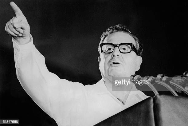 An undated photo of Chilean statesman Salvador Allende speaking at the closing of the Chilean Communist Party's 5th anniversary Allende a medical...