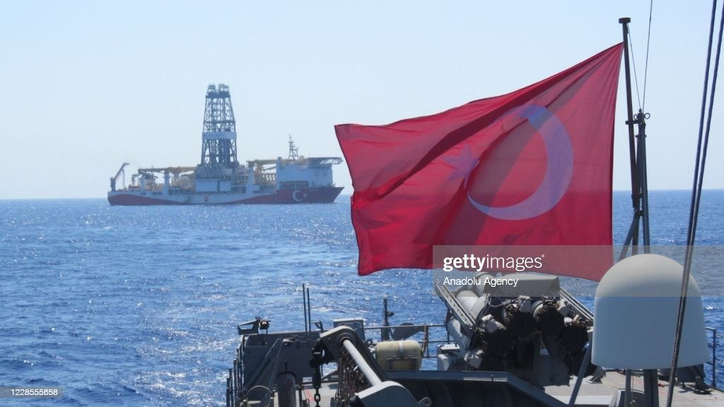 Turkish navy continue to guard and escort drilling and seismic research vessels : News Photo