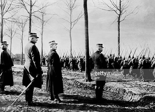 An undated picture shows French Commander in Chief of Allied Armies Ferdinand Foch General Joseph Joffre CommanderinChief of the French Armies and US...