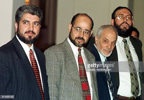 An undated picture shows Palestinian leaders of the Islamic Resistance Movement in Jordan Khaled Mashal, who was targeted by an assassination bid by...