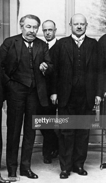 An undated picture taken at an undisclosed location shows then French Foreign Minister Aristide Briand posing next to his German counterpart Gustav...