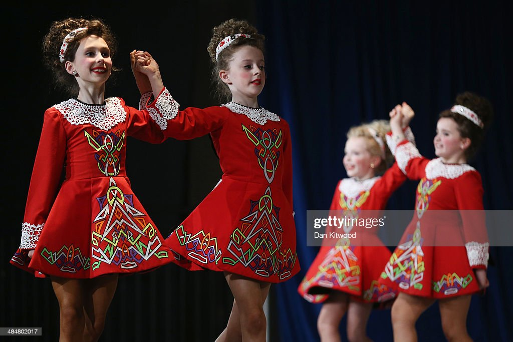 An under 11's dance group perform a Ceili dance during the World Irish Dance Championship on April 14, 2014 in London, England. The 44th World Irish Dance Championship is currently running at London's Hilton London Metropole hotel, and will host approximately 5,000 dancers competing in solo, Ceili, modern figure choreography and dance drama categories during the week long event.