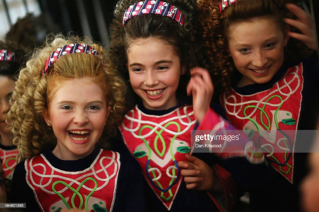 An under 11's dance group wait backstage before performing a Ceili dance during the World Irish Dance Championship on April 14, 2014 in London, England. The 44th World Irish Dance Championship is currently running at London's Hilton London Metropole hotel, and will host approximately 5,000 dancers competing in solo, Ceili, modern figure choreography and dance drama categories during the week long event.
