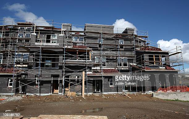 An under construction condo complex is seen in a housing development February 16 2011 in Dublin California New home construction rose 146 percent in...