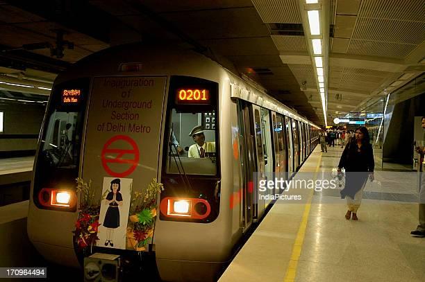 An underground metro station New Delhi India