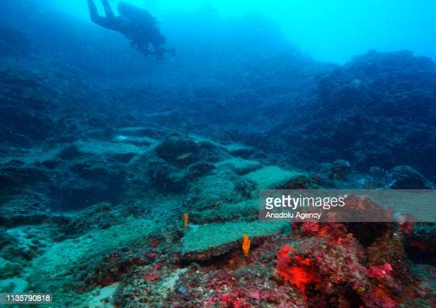 An underwater photo shows a 14 meters long submerged ship with copper ingots in it belonging 1600s BC in Antalya Turkey on April 5 2019