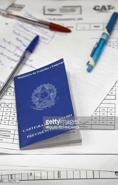 An unemployed worker's labour card of a person seeking a job at the the Centre for Labour and Entrepreneurship a social program of the city hall of...