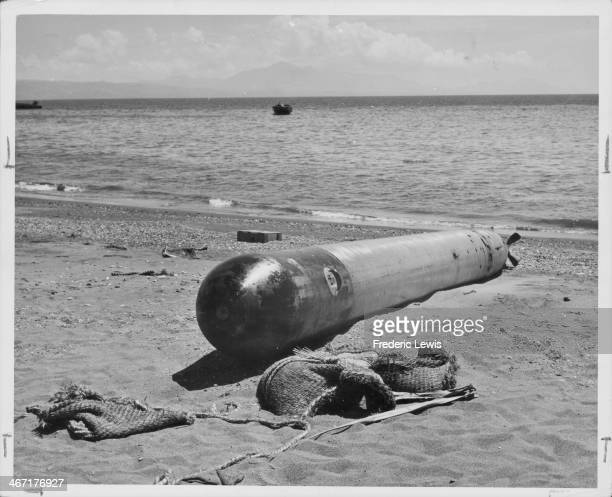 An unexploded Japanese torpedo misses the mark in Guadalcanal during World War Two Solomon Islands circa 19391945