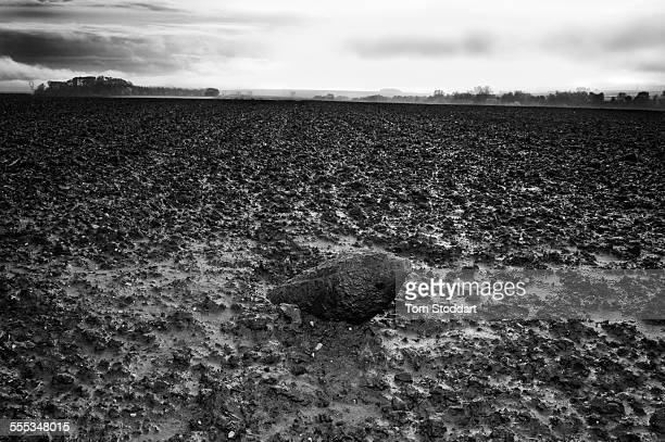 An unexploded World War One shell in a field near Auchonvilliers France The iron harvest is the annual 'harvest' of unexploded ordnance barbed wire...