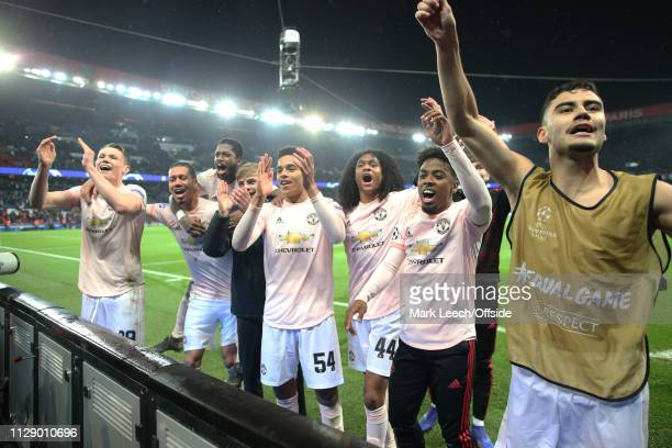 an unfamiliar Manchester United line up including Scott McTominay Mason Greenwood Tatih Chong and Andreas Pereira celebrate after the UEFA Champions...