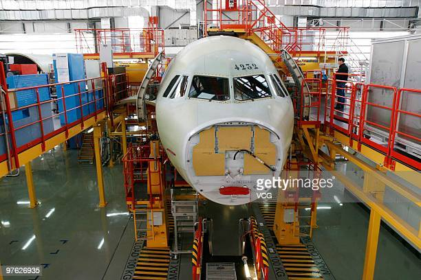 An unfinished Airbus A320 is seen on the assembly manufacturing line at Tianjin Airbus Factory on March 11 2010 in Tianjin of China