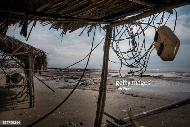 An unfinished construction site destroyed by high tides near the seafront on April 29 2017 in Bao Thuan Village Ba Tri District Ben Tre Province...