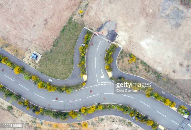 An unfinished road in lockdown on May 13, 2020 in Bordon, Hampshire. The downturn in the economy as a result of COVID-19 has resulted in many...