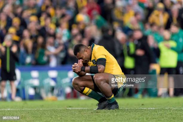 An unhappy Australian player Taniela Tupou after the game at the rugby test match between Australia and Ireland at Allianz Stadium in Sydney on June...