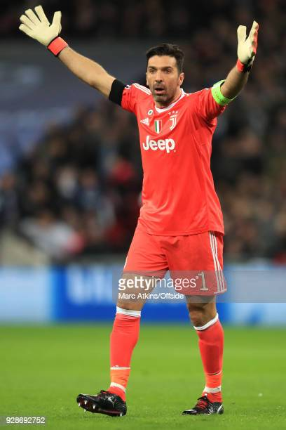 An unhappy Juventus goalkeeper Gianluigi Buffon appeals against a decision from the referee during the UEFA Champions League Round of 16 Second Leg...