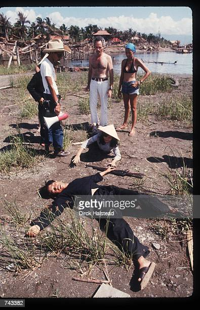 An unidentified actor lays on the ground April 28 1976 during the filming of 'Apocalypse Now' in the Philippines The movie was directed by Francis...