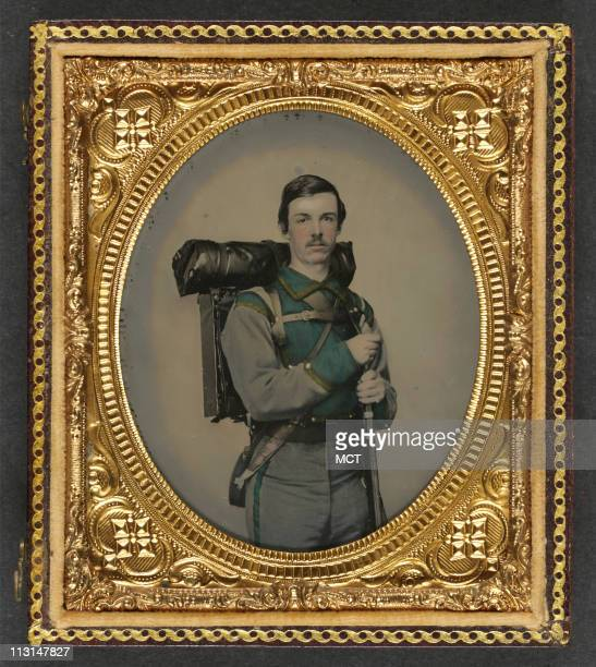 An unidentified Confederate soldier of Company E Lynchburg Rifles 11th Virginia Infantry Volunteers appears with an 1841 Mississippi rifle...