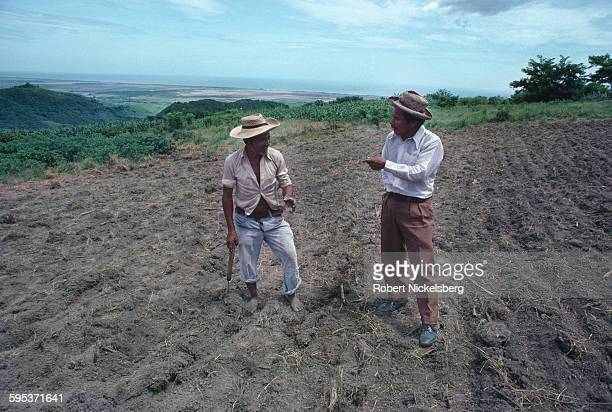 An unidentified farmer speaks to a field worker San Vicente province El Salvador July 1 1982 The land had been newly transfered to the farmer as part...
