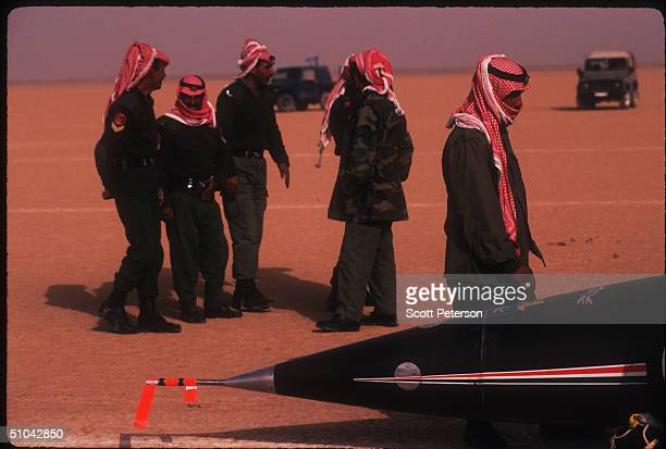 An Unidentified Group Of Jordanian Soldiers Watch As The Ssc Thrust Prepares To Take Off November 16 1996 On The AlJafr Desert In Jordan Raf Lt Andy...