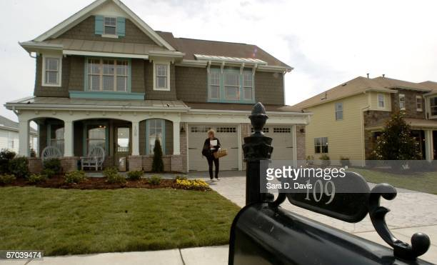 An unidentified guest tours the Lily Pond style model home in Martha Stewart's Twin Lakes Community on March 9 2005 in Cary North Carolina Twin Lakes...