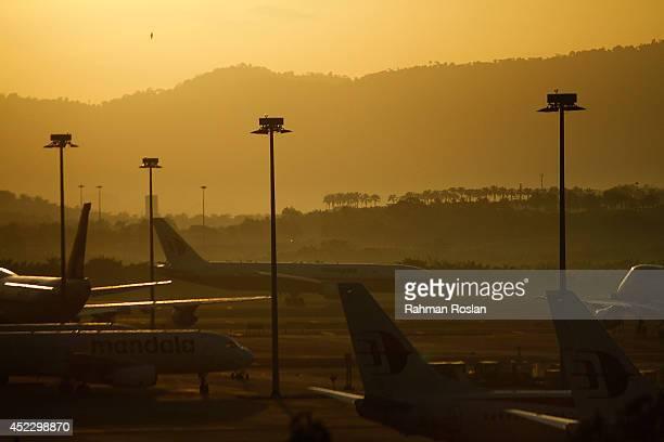 An unidentified Malaysia Airlines flight lands on the tarmac at Kuala Lumpur International Airport Terminal 1 on July 18 2014 in Putrajaya Malaysia...