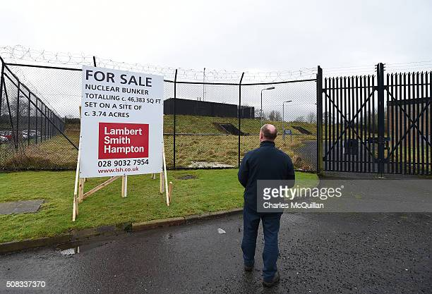 An unidentified member of the public looks at the nuclear bunker site on the Woodside Road industrial estate on February 4 2016 in Ballymena Northern...