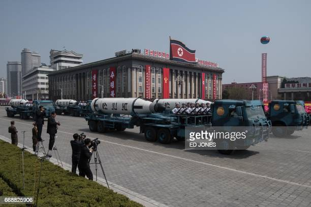 An unidentified mobile rocket lancher is displayed during a military parade marking the 105th anniversary of the birth of late North Korean leader...