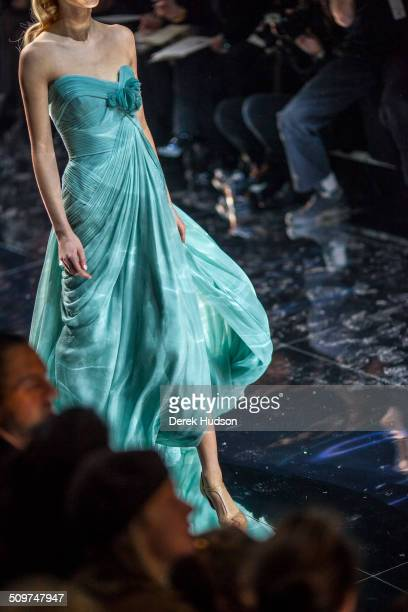 An unidentified model walks on the runway during an Elie Saab fashion show Paris France 2010