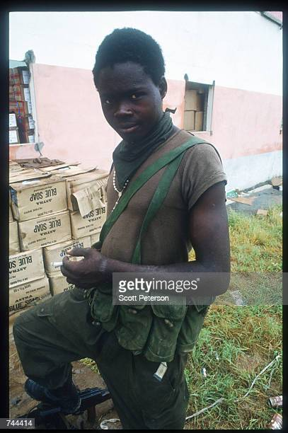 An unidentified MPLA soldier poses for a photograph March 13 1993 in Soyo Angola State radio claims that government troops recaptured the oil town of...