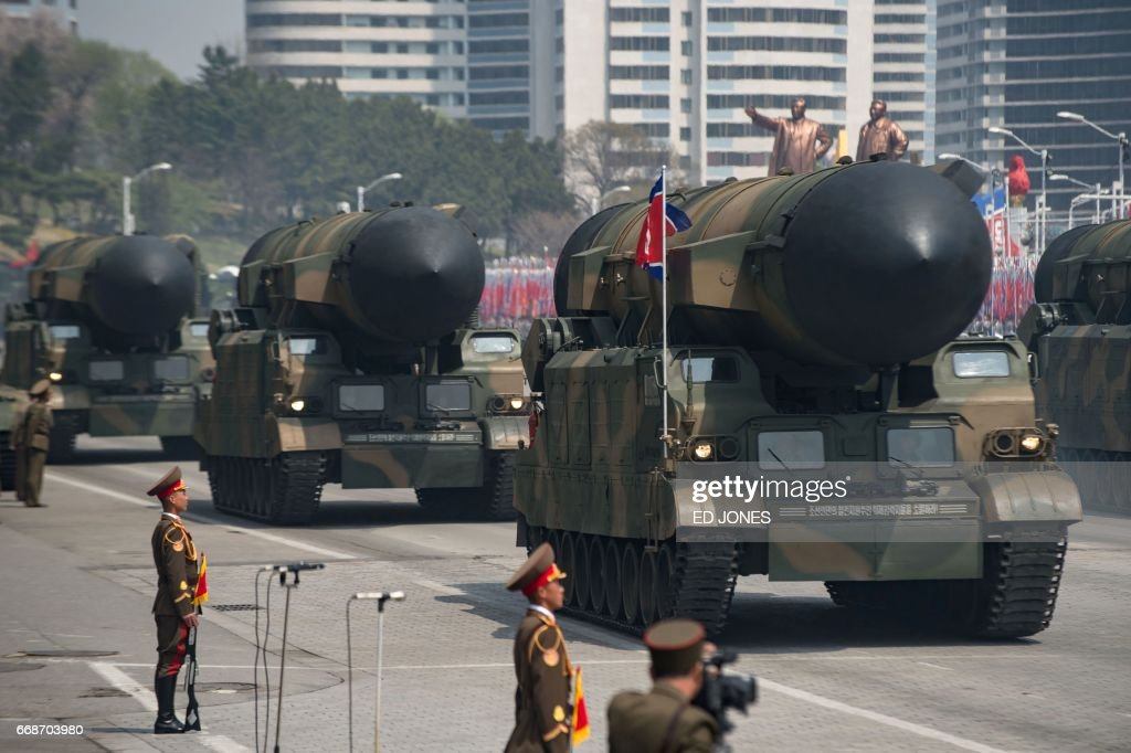 An unidentified rocket is displayed during a military parade marking the 105th anniversary of the birth of late North Korean leader Kim Il-Sung in Pyongyang on April 15, 2017. North Korean leader Kim Jong-Un on April 15 saluted as ranks of goose-stepping soldiers followed by tanks and other military hardware paraded in Pyongyang for a show of strength with tensions mounting over his nuclear ambitions. / AFP PHOTO / Ed JONES