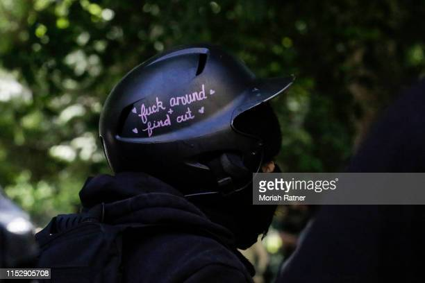 An unidentified Rose City Antifa protestor is seen at a gathering in Lownsdale Square on June 29 2019 in Portland Oregon Several groups from the left...
