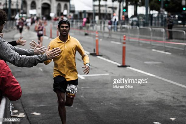 CONTENT] An unidentified runner approaches the finish line of the June 2012 San Francisco Marathon along the Embarcadero in San Francisco This runner...