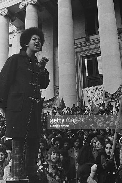 An unidentified speaker addresses a Black Panther rally, New Haven, Connecticut, November 1969.