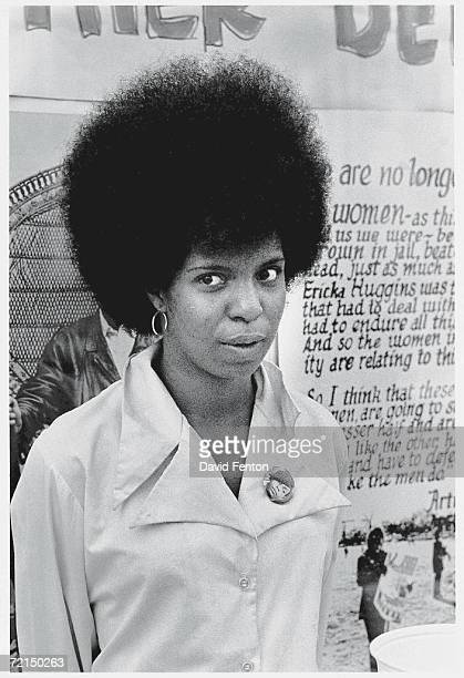An unidentified woman stands in front of the Black Panther Party headquarters, New Haven, Connecticut, early May, 1970.