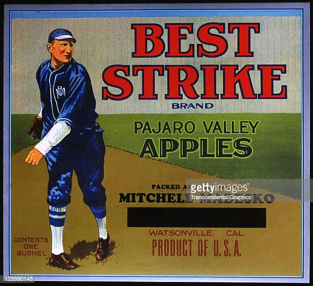 An unknown California lithographer uses a baseball pitcher to decorate the apple crate label entitled Best Strike printed early to mid 20th century...