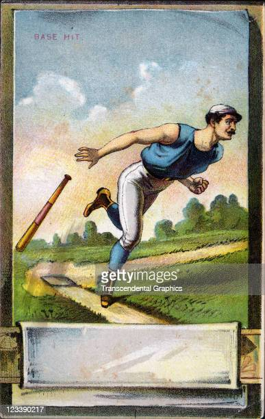 An unknown publisher issued a series of four baseball scorecards with litho covers this one entitled Base Hit printed 1880s in New York City