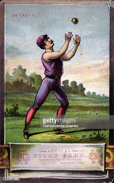 An unknown publisher issued a series of four baseball scorecards with litho covers this one entitled An Easy Fly printed 1880s in New York City