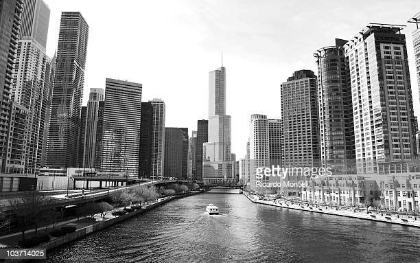 An unknown skyline along the Chicago River