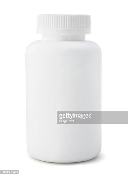 An unmarked white medicine bottle