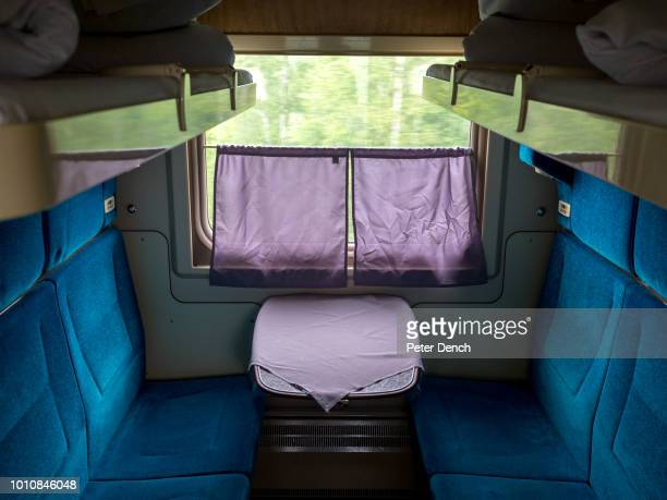 An unoccupied second class cabin on the TransSiberian Railway from MoscowVladivostok spanning a length of 9289km it's the longest uninterrupted...