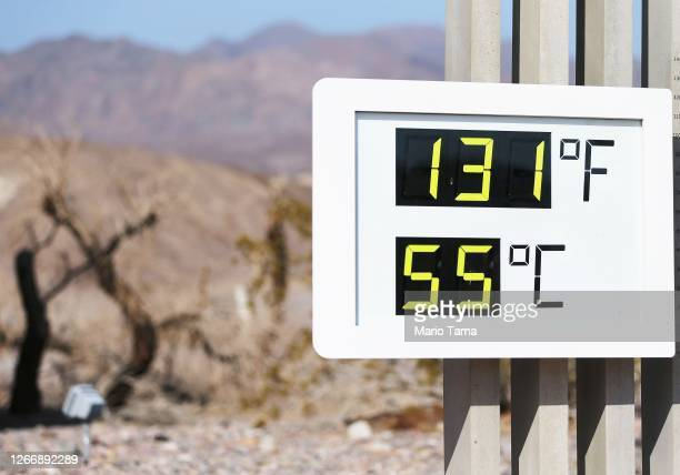 An unofficial thermometer is mounted at Furnace Creek Visitor Center on August 17, 2020 in Death Valley National Park, California. The temperature...