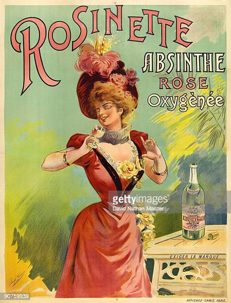 An unrecorded lithographic poster for Rosinette Absinthe Rose Oxygenee printed by Camis This is the only known historical reference to a rose absinthe