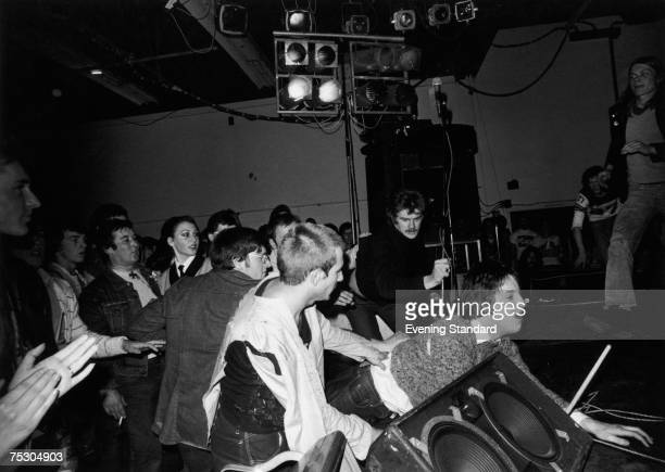 An unruly crowd during a punk gig part of the Anarchy Tour at Leeds Polytechnic 1976 The lineup included The Sex Pistols The Damned and Johnny...
