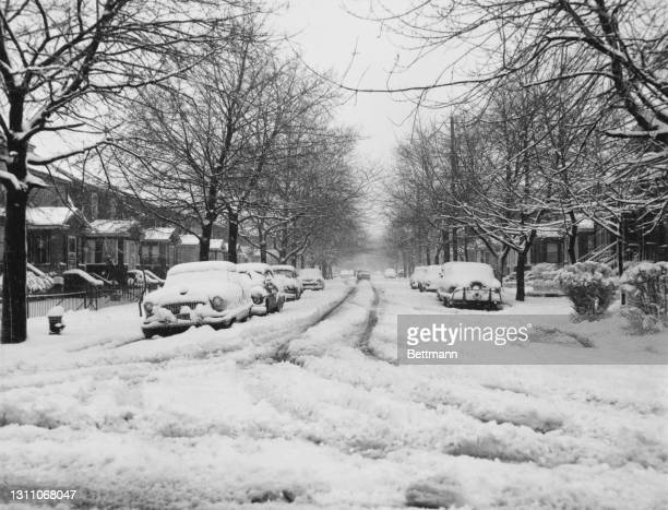 An unspecified street under a blanket of snow after snowstorms hit the east coast of America, here the Jamaica neighbourhood of the borough of Queens...