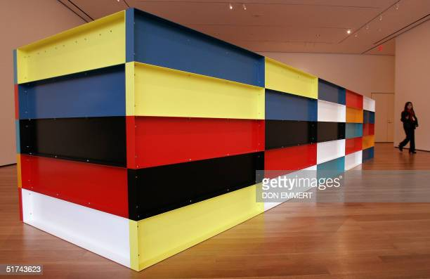 An untitled piece by Donald Judd made of painted aluminum is on view at the Museum of Modern Art 15 November 2004 in New York The museum reopens to...