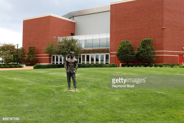 An 'Untitled' statue stands outside Chaifetz Arena home of the St Louis University Billikens men's and women's basketball teams in St Louis Missouri...